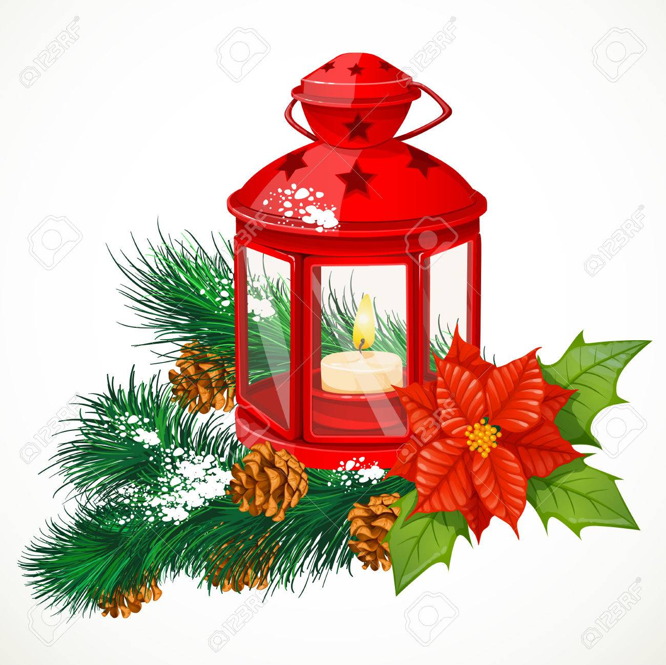 Christmas Lantern With A Candle On Spruce Branch Royalty Free ...
