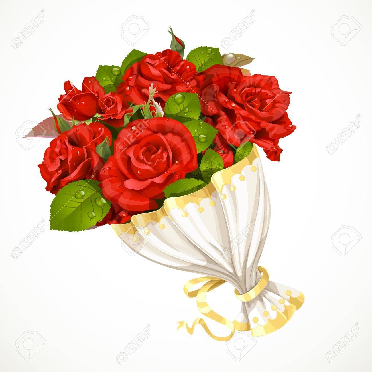 Bouquet De Roses Rouges Saint Valentin Cadeau Du Jour Isolé Sur Fond Blanc