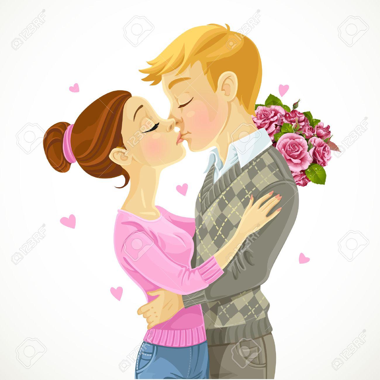 Junges Paar Kusst Vektor Zeichnen Auf Weissem Hintergrund
