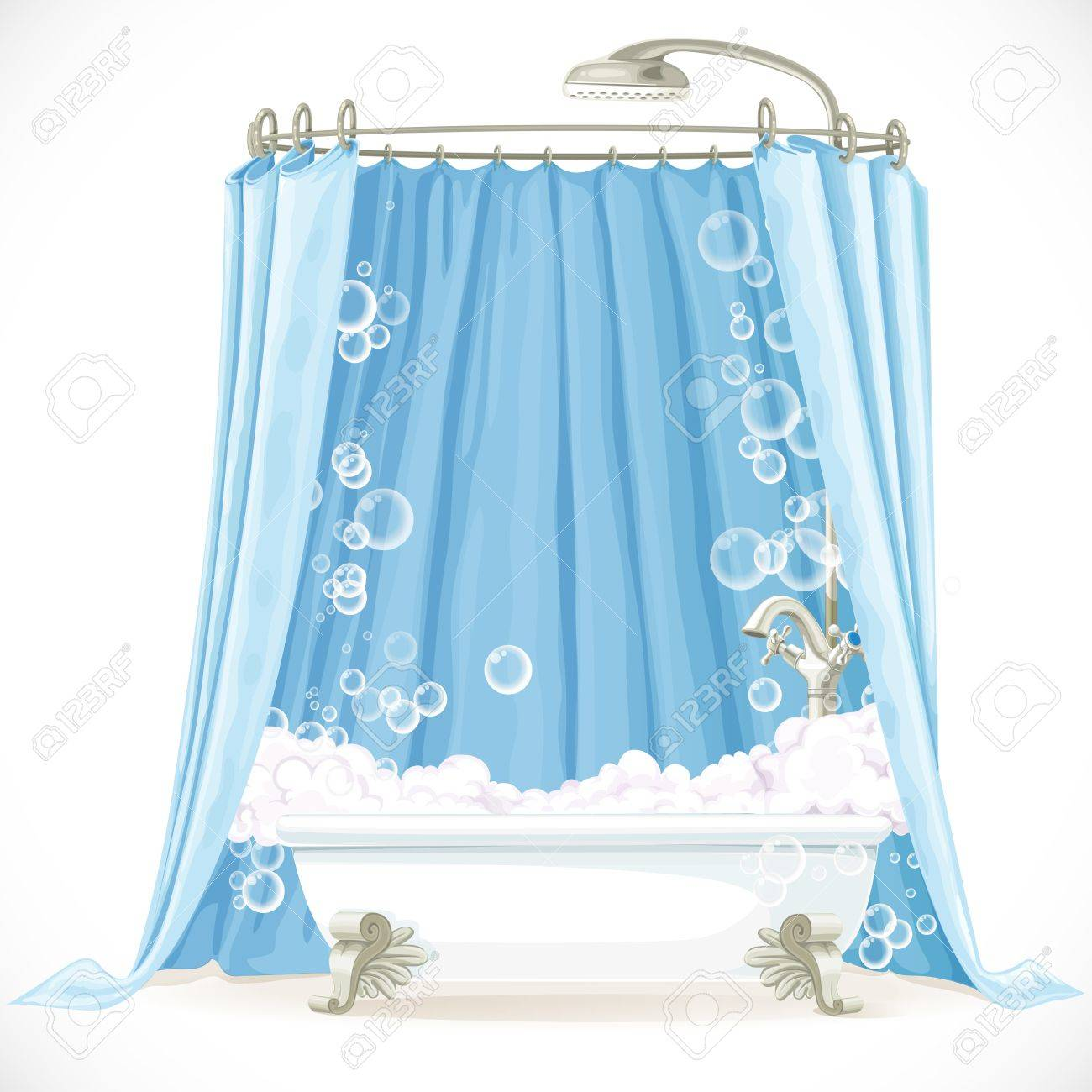 Vintage Claw Foot Bathtub And A Curtain On The Hoop