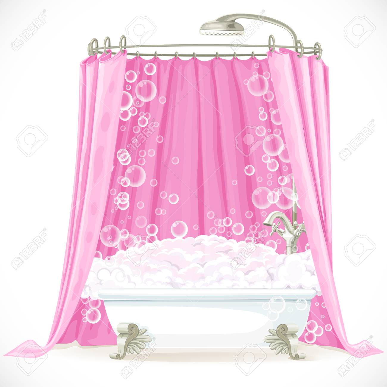 Vintage Claw Foot Bathtub And A Pink Curtain On The Hoop