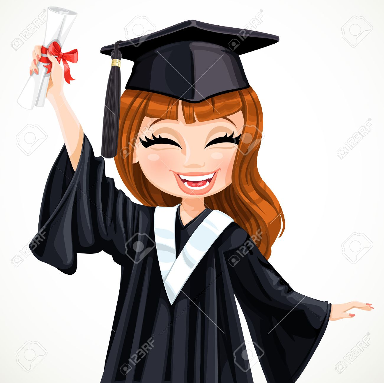 diploma graduating happy student girl vector illustration royalty