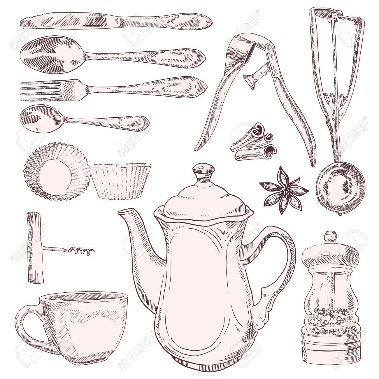 Una Taza De Té Y Utensilios De Cocina Vintage Aislados Sobre Fondo ...