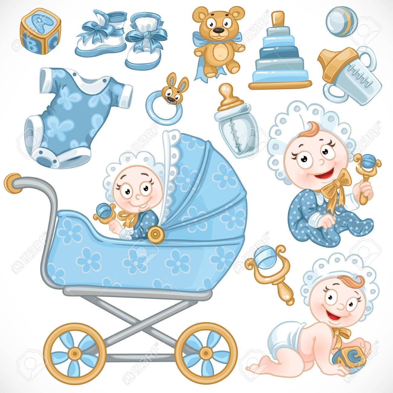Conjunto De Lindo Bebe Juguetes Del Bebe Azul Carro De Bebe Los
