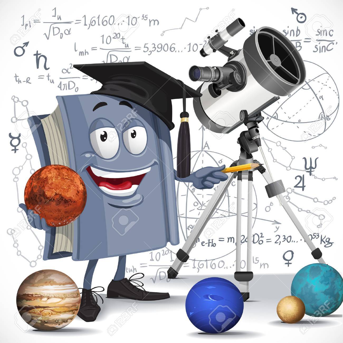 School astronomy textbook with telescope hold Mars on formula background - 31070831