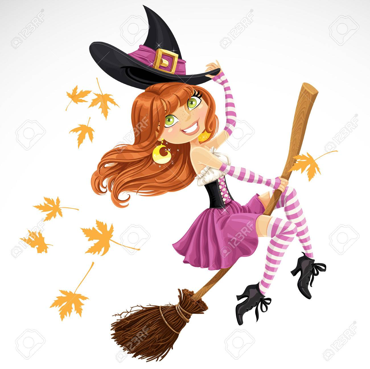 Beautiful witch flying on a broomstick isolated on white background - 31070860