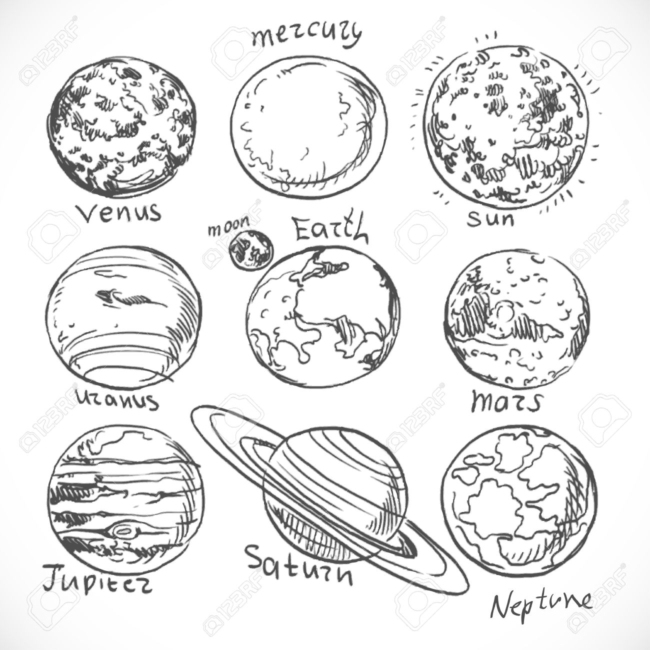 Doodle Planets Of The Solar System Isolated On White Background Stock Vector
