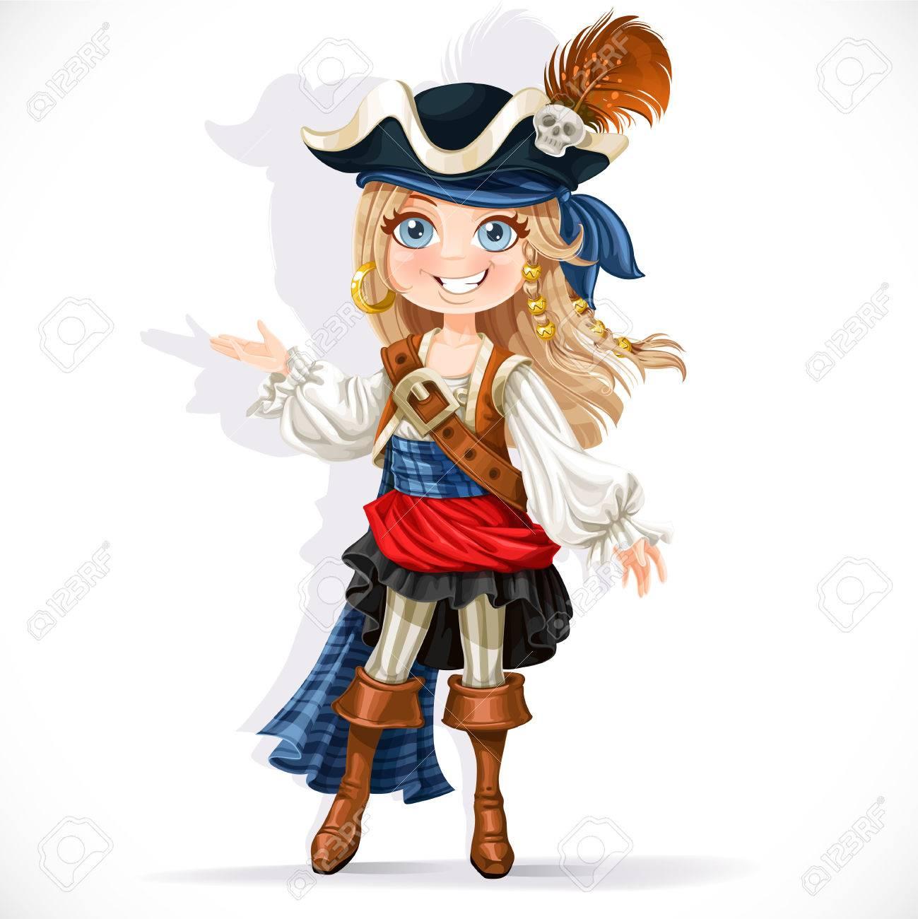 Schattige kleine piraat meisje geïsoleerd op een witte achtergrond Stockfoto - 33084908