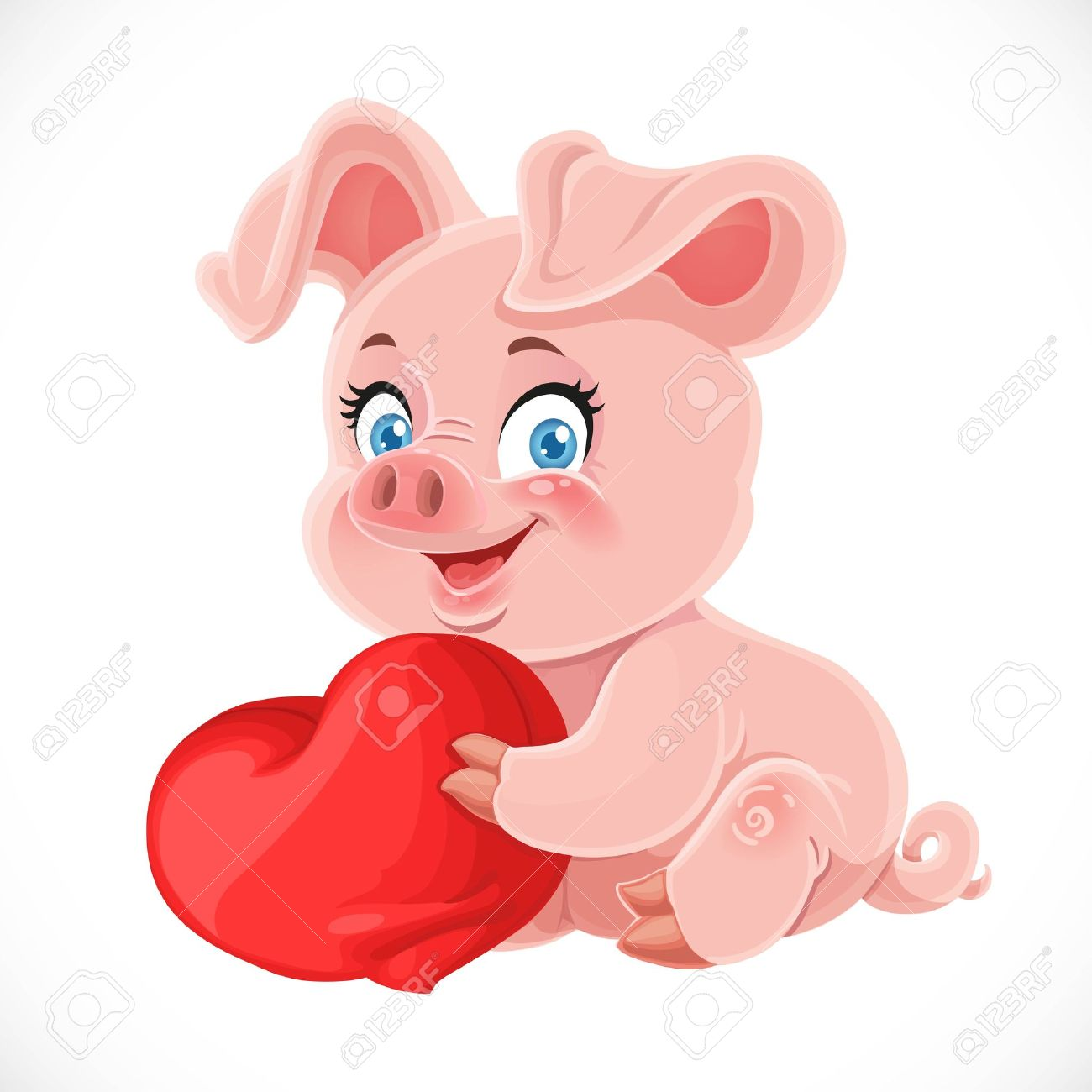 Cute Cartoon Happy Baby Pig Hugging A Soft Red Pillow Heart Isolated ... for Pig Heart Cartoon  270bof