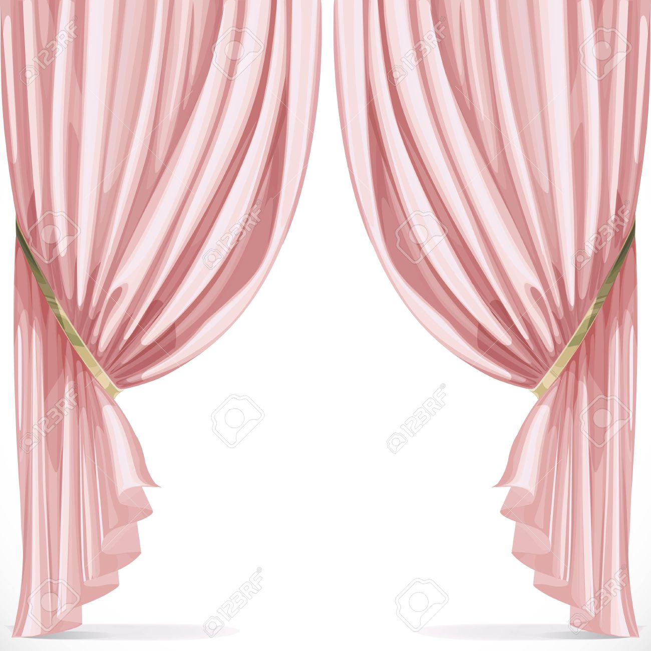 Pink Curtain Collected In Folds Ribbon Isolated On A White ... for Pink Curtains Background  535wja