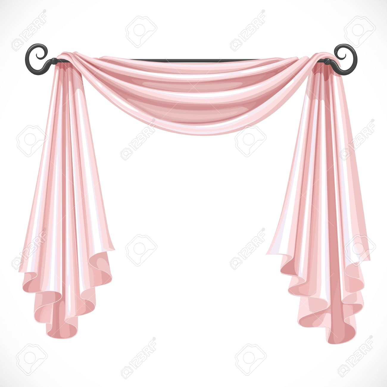 Pink Curtains On The Ledge Forged Isolated A White Background Stock Vector