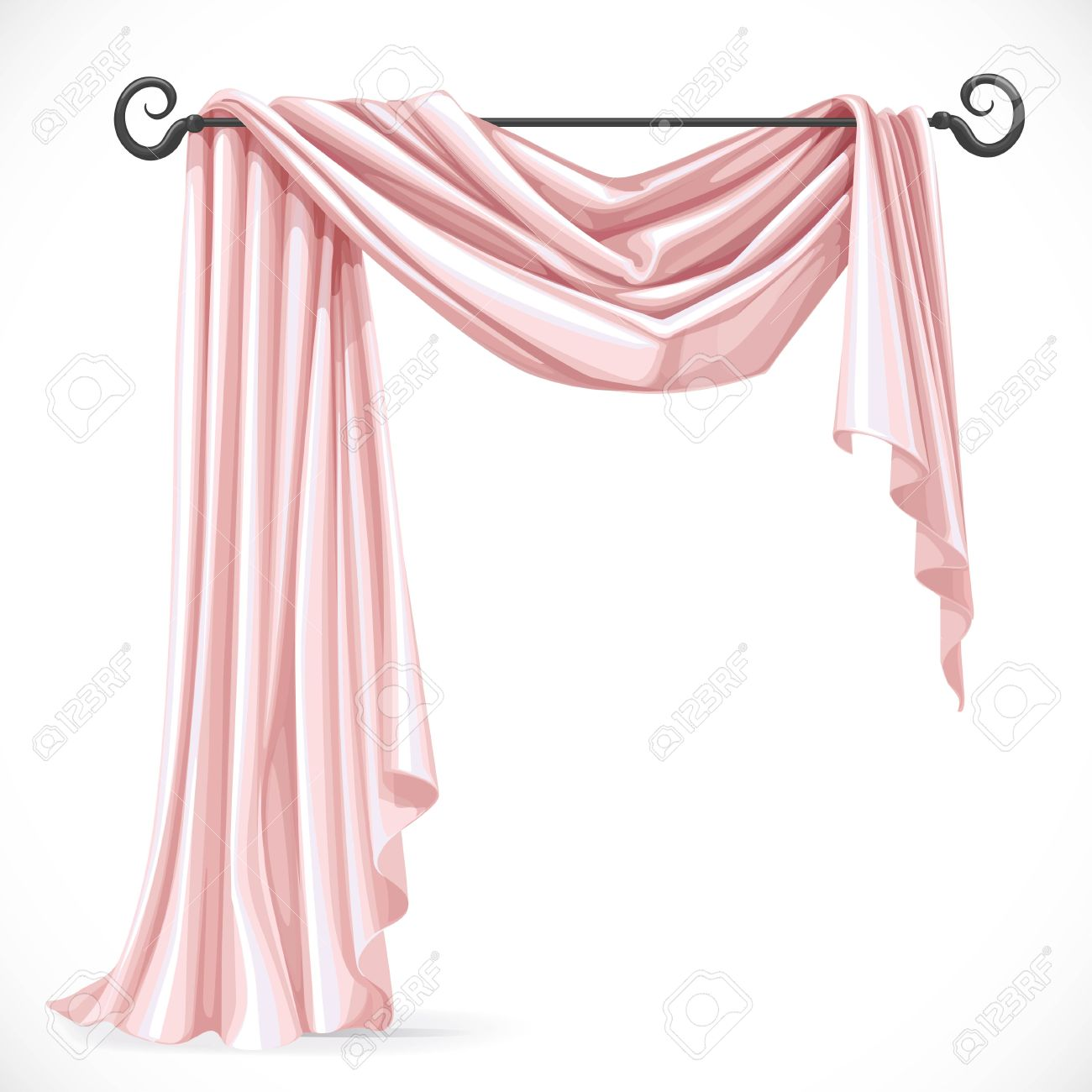 Light pink curtains - Light Pink Curtain Pink Asymmetric Curtains On The Ledge Forged Isolated On A White Background
