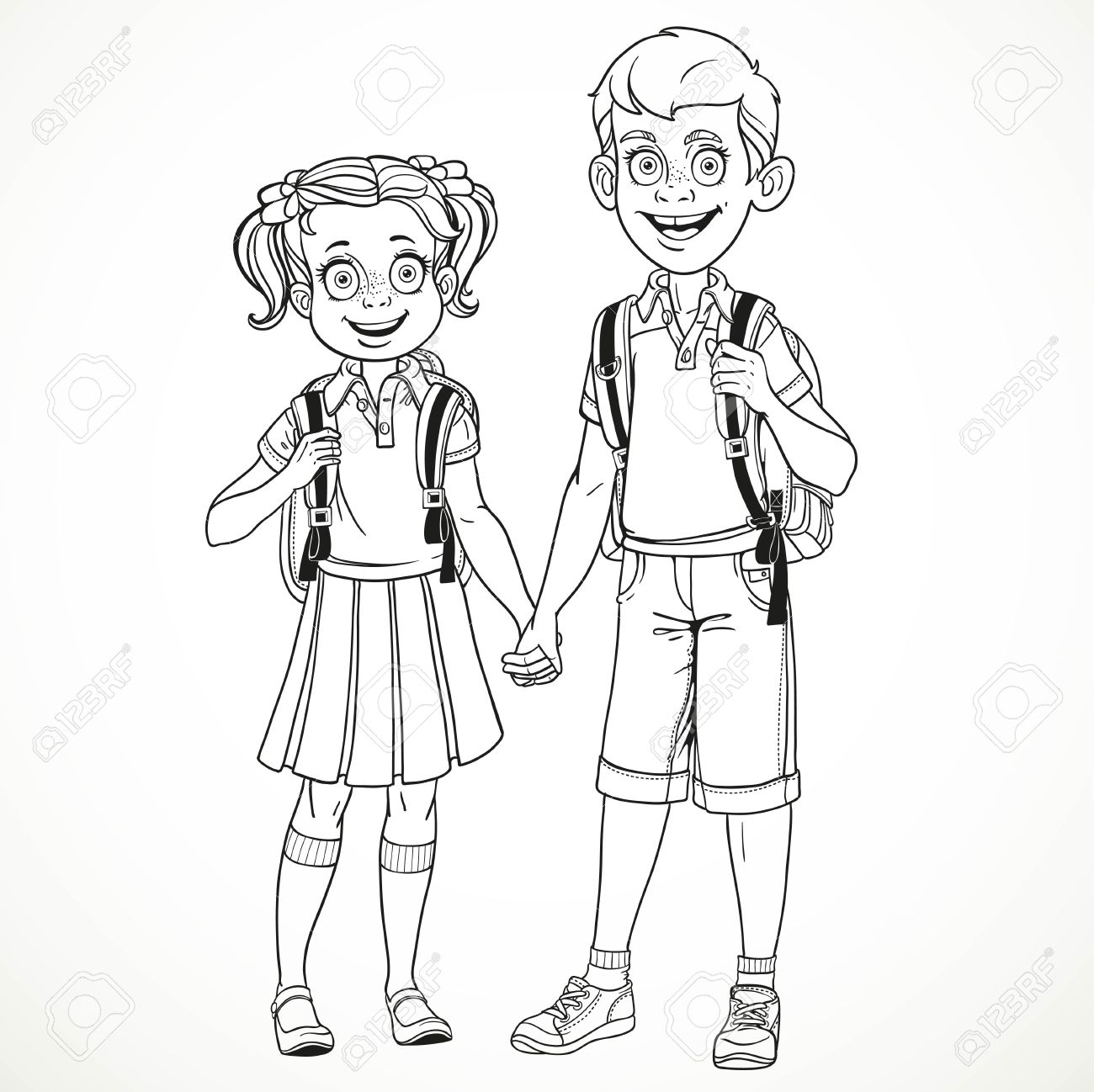 Boy and girl with a school bag holding hands line drawing isolated