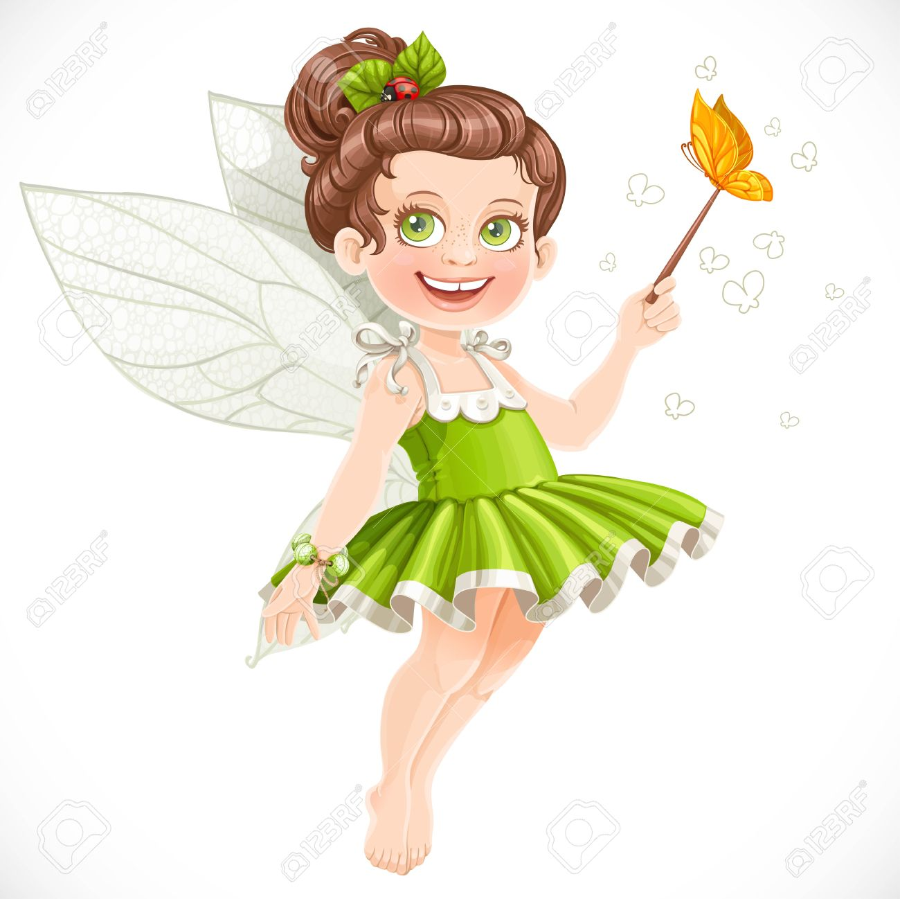 cute little summer fairy with a magic wand isolated on a