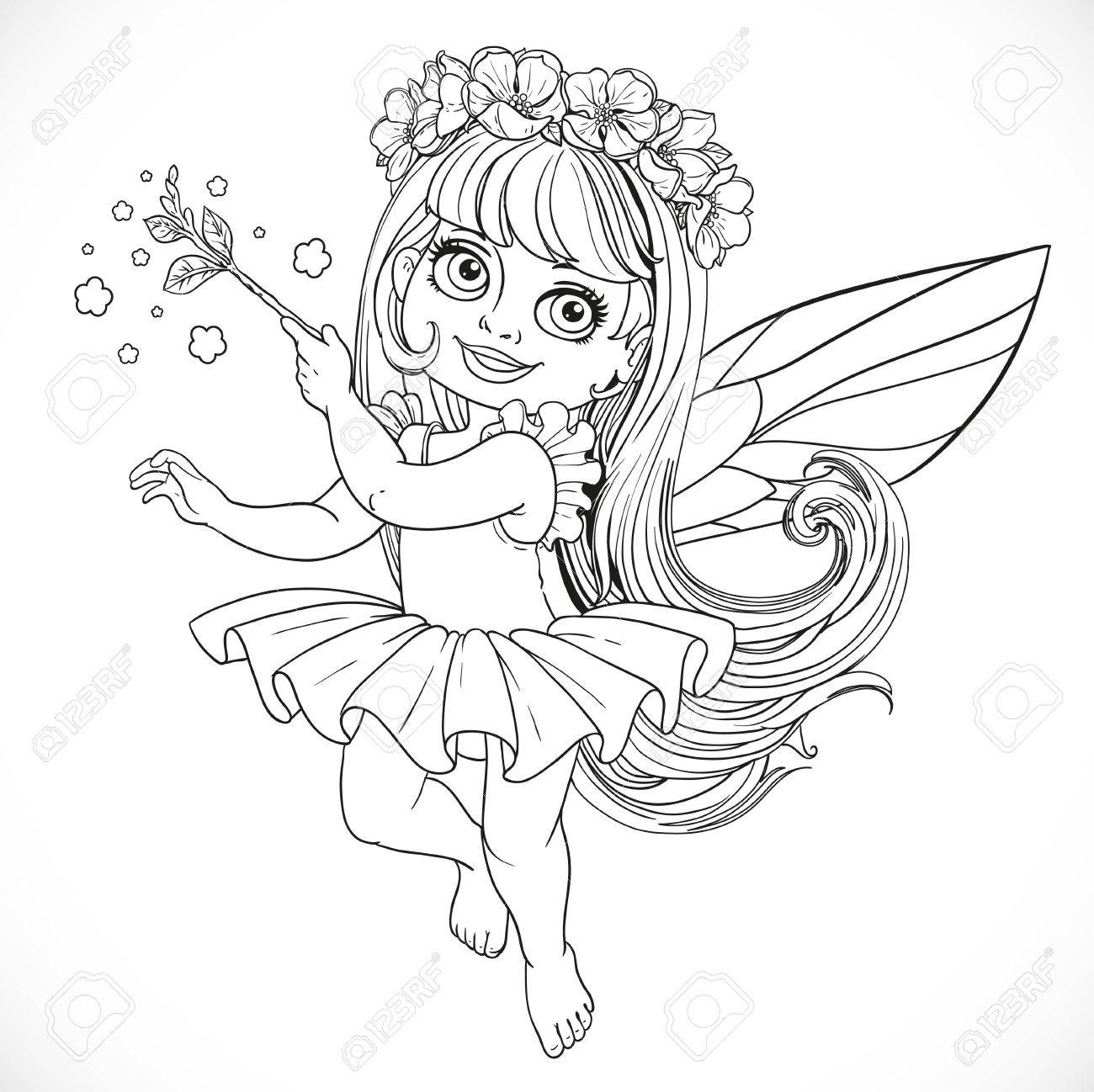 cute little spring fairy in tutu with magic wand outline
