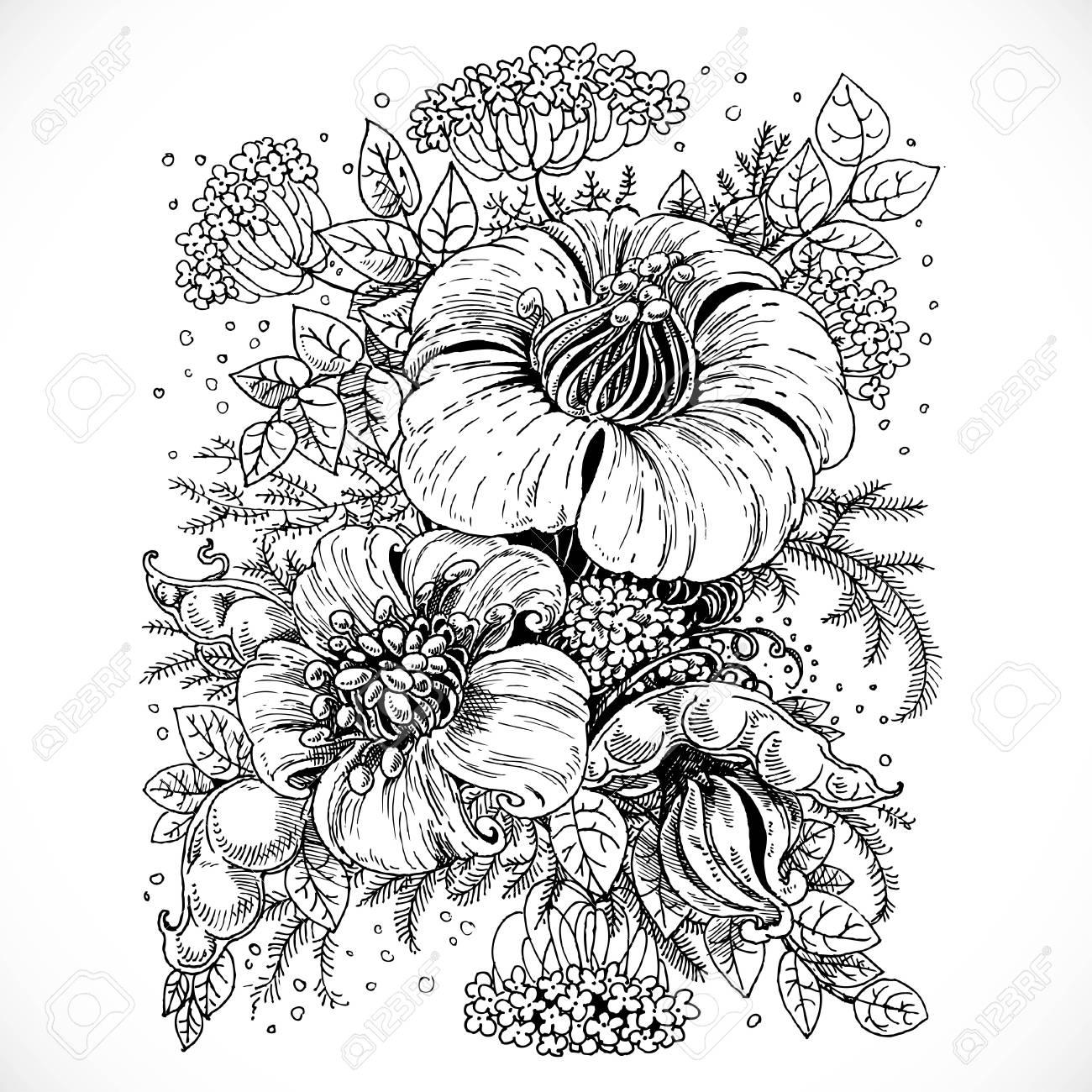 Schwarz Und Weiß Zeichnung Fantasy Blumen Und Blätter