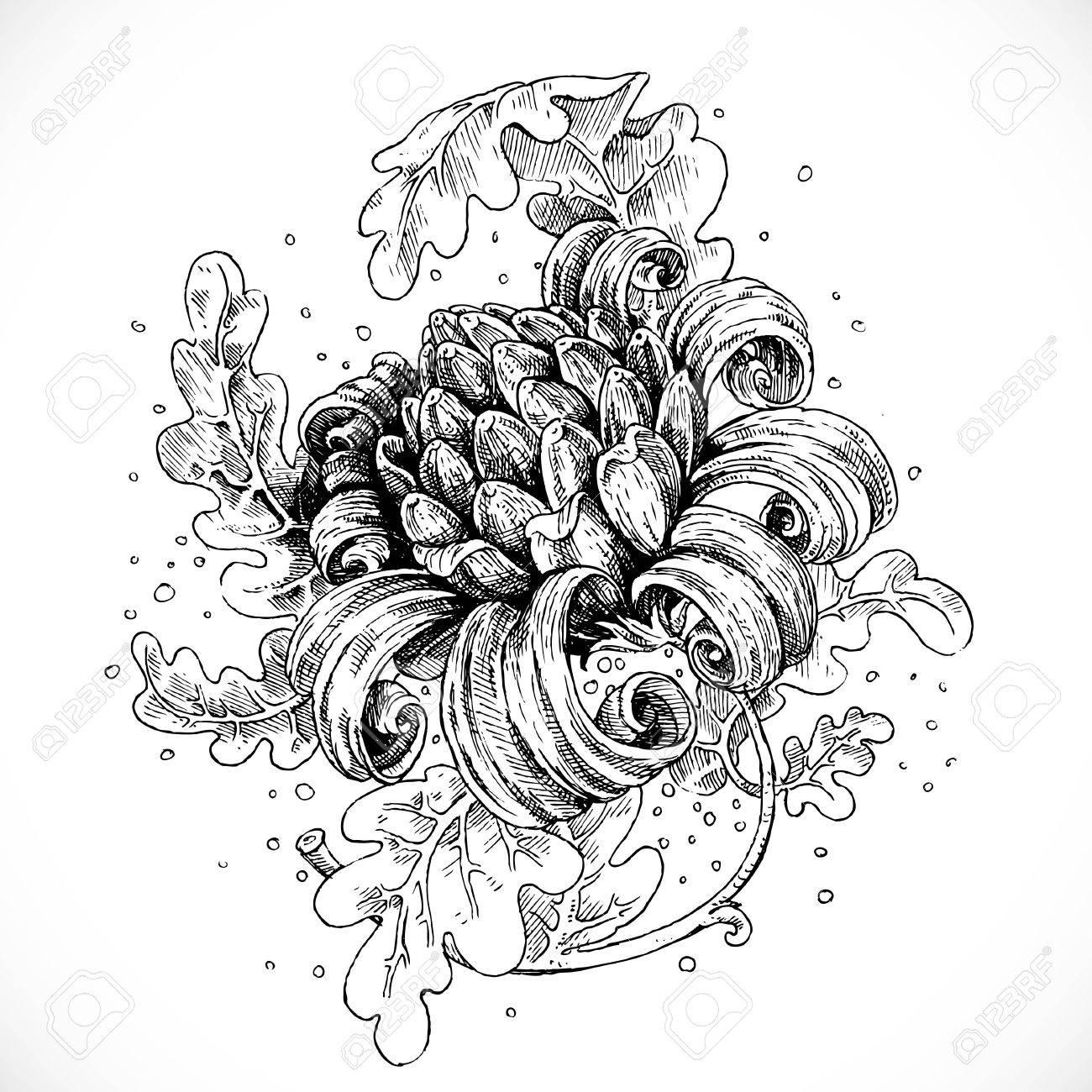 Schwarz Weiß Zeichnung Fantasie Blumen Und Blätter Lizenzfrei