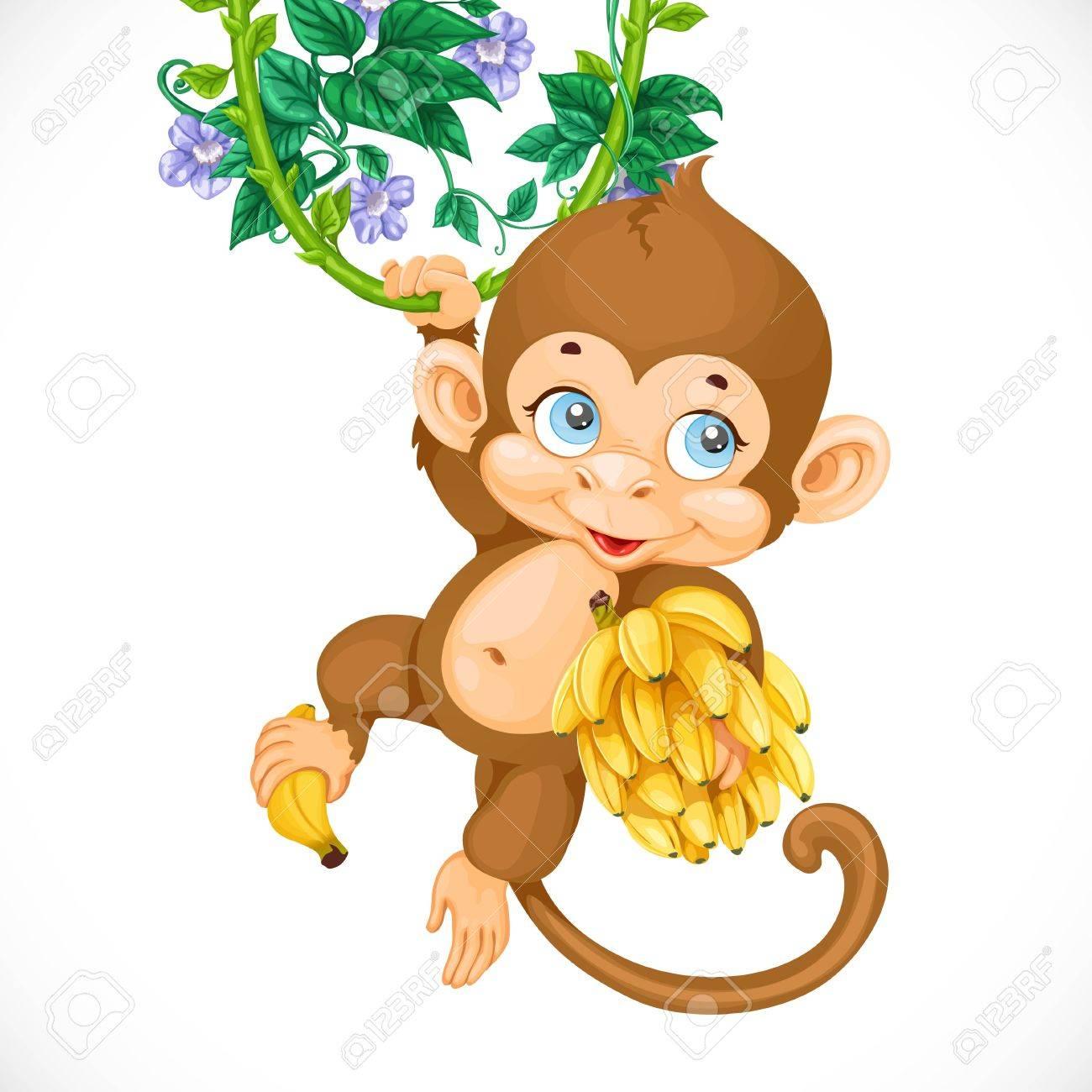 Mono Lindo Del Bebé Con El Plátano Aislado En Un Fondo Blanco ...