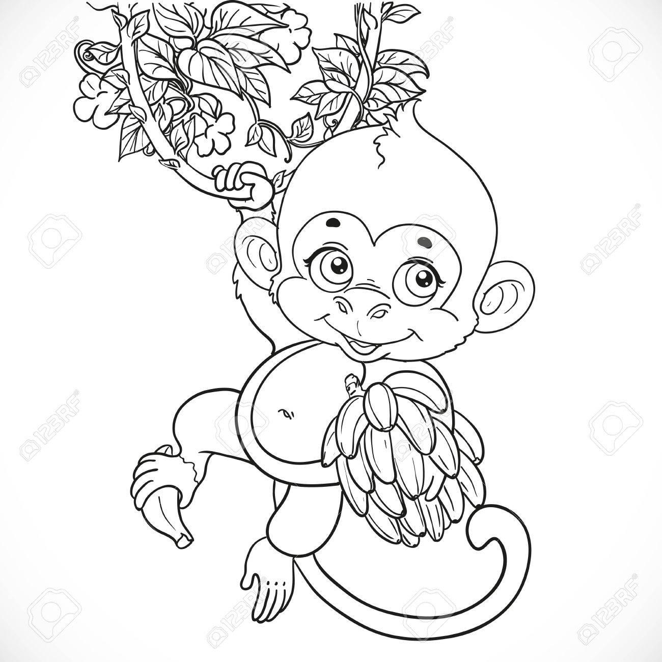 Fantástico Lindo Bebé Mono Para Colorear Ideas - Enmarcado Para ...