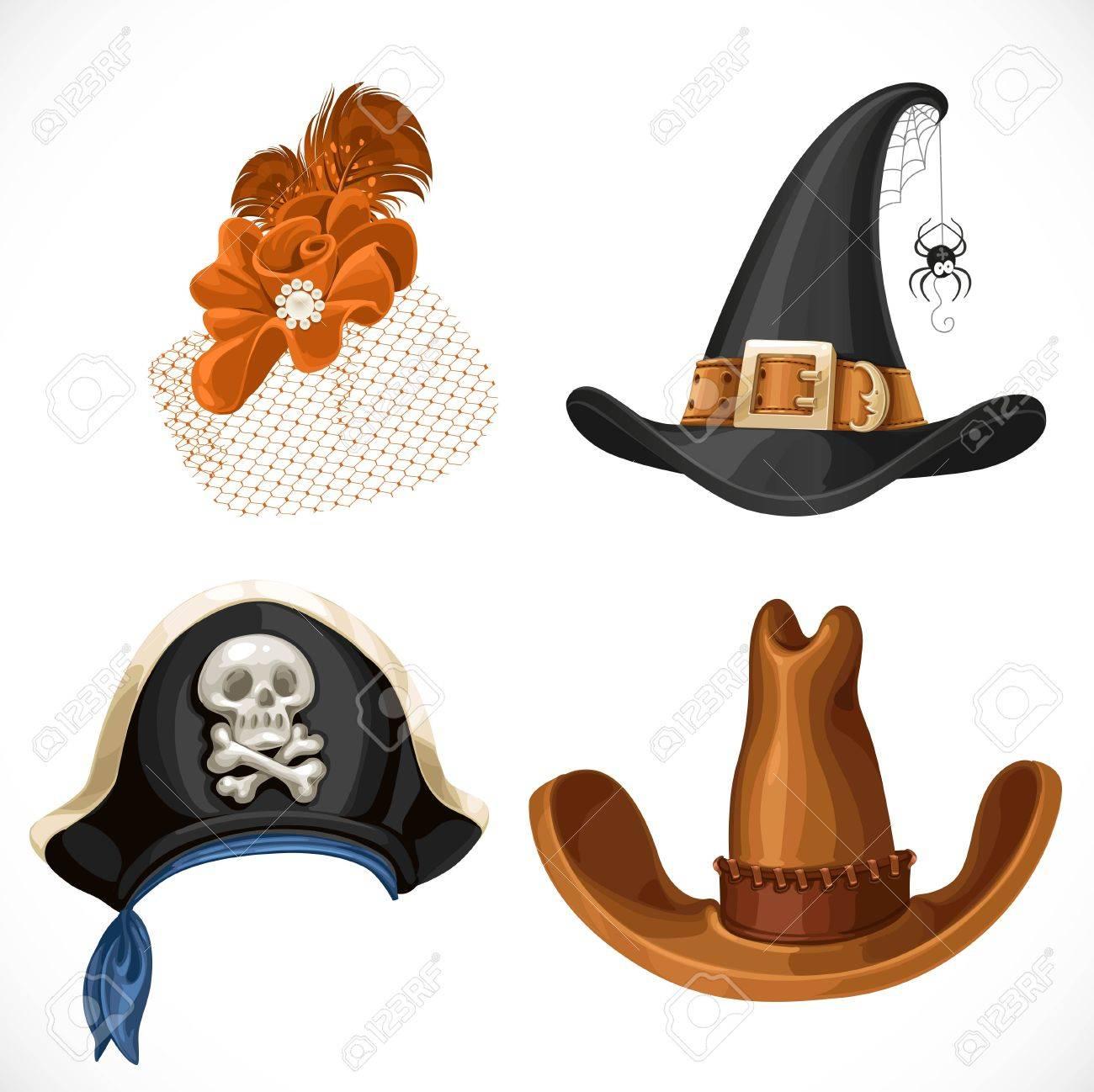 Archivio Fotografico - Set di cappelli per i costumi di carnevale - cappello  retrò femminile b8ac9c3540b6