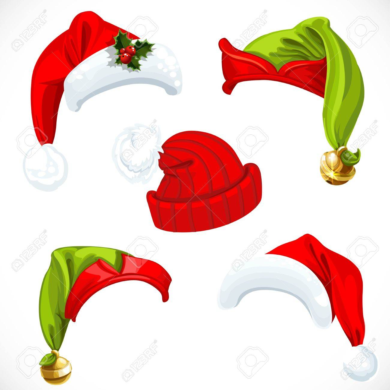 New year Santa and Elf hats isolated on a white background - 50312734