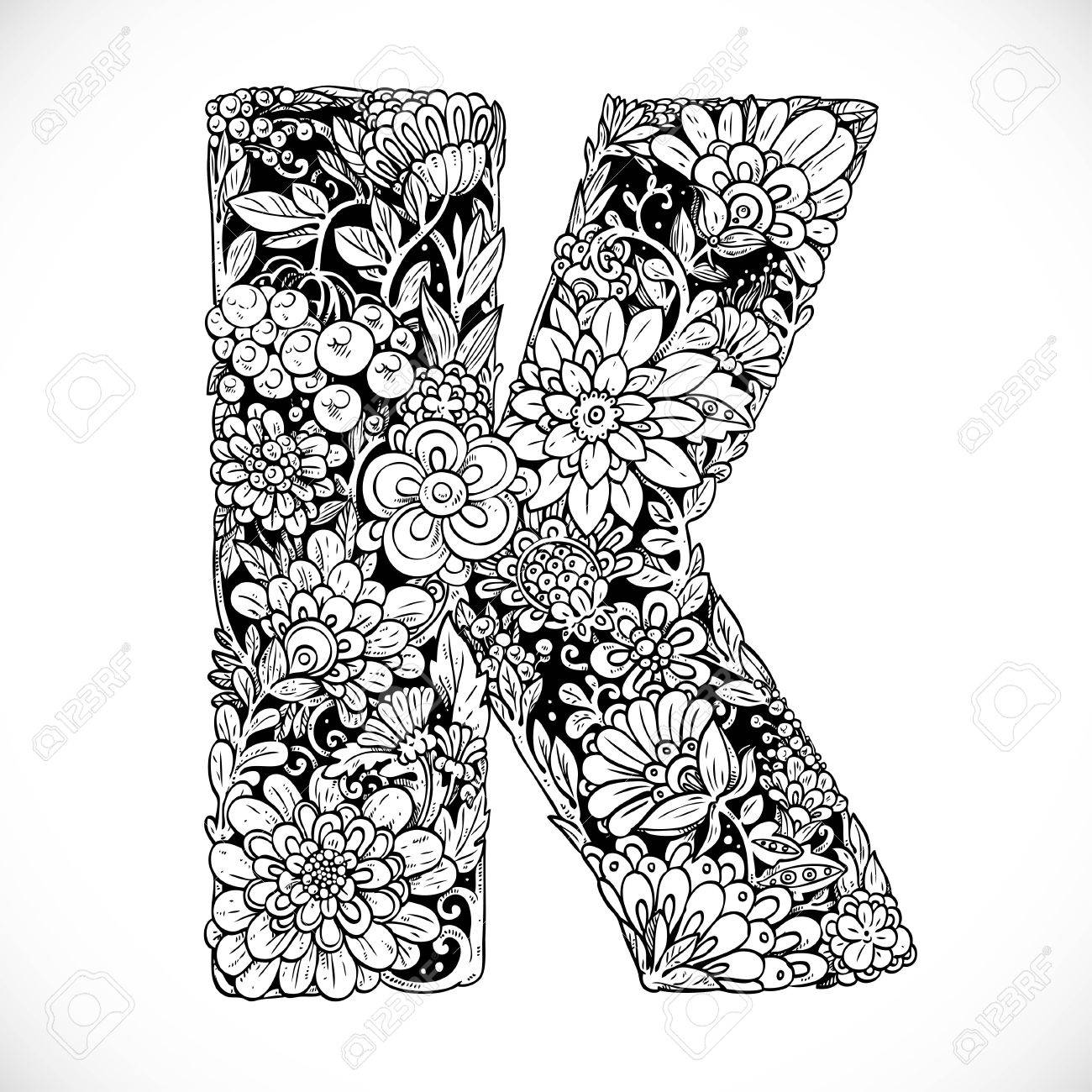 Doodles Font From Ornamental Flowers Letter K Black And White