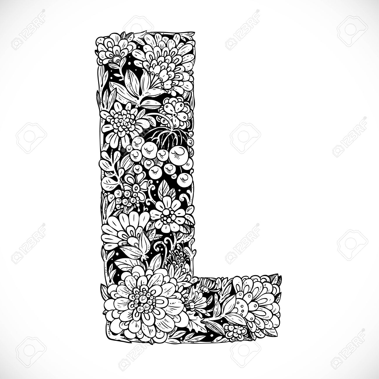 Doodles Font From Ornamental Flowers Letter L Black And White