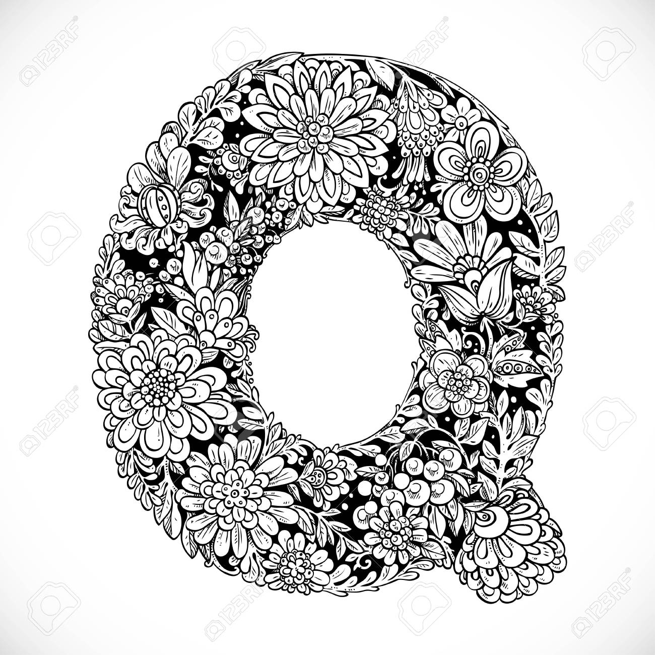 Doodles Font From Ornamental Flowers Letter Q Black And White
