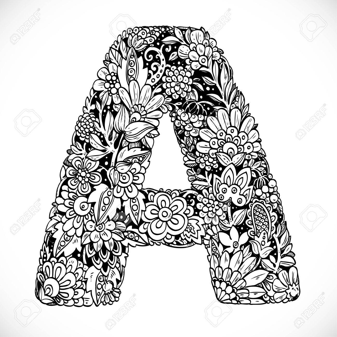 Doodles font from ornamental flowers letter a black and white doodles font from ornamental flowers letter a black and white stock vector 52156691 thecheapjerseys Choice Image