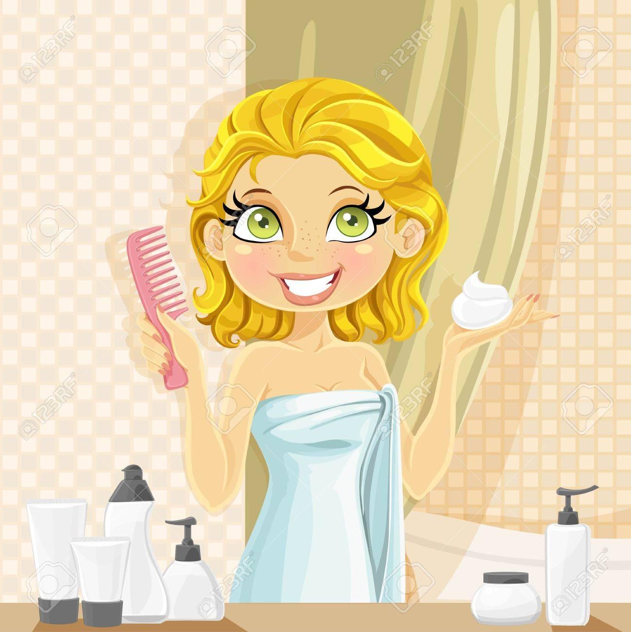 美しい若いブルネットの女性は バスルームで濡れた髪スタイリング ムースを置きます のイラスト素材 ベクタ Image