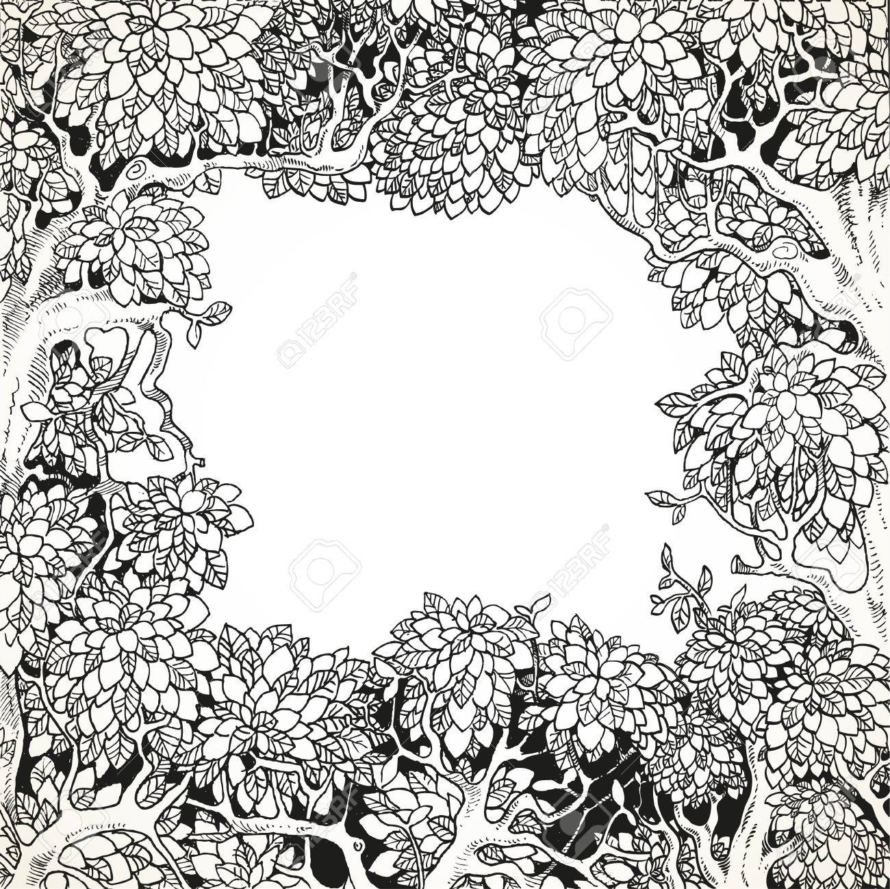 Frame for text decoration Enchanted Forest black and white - 52987054
