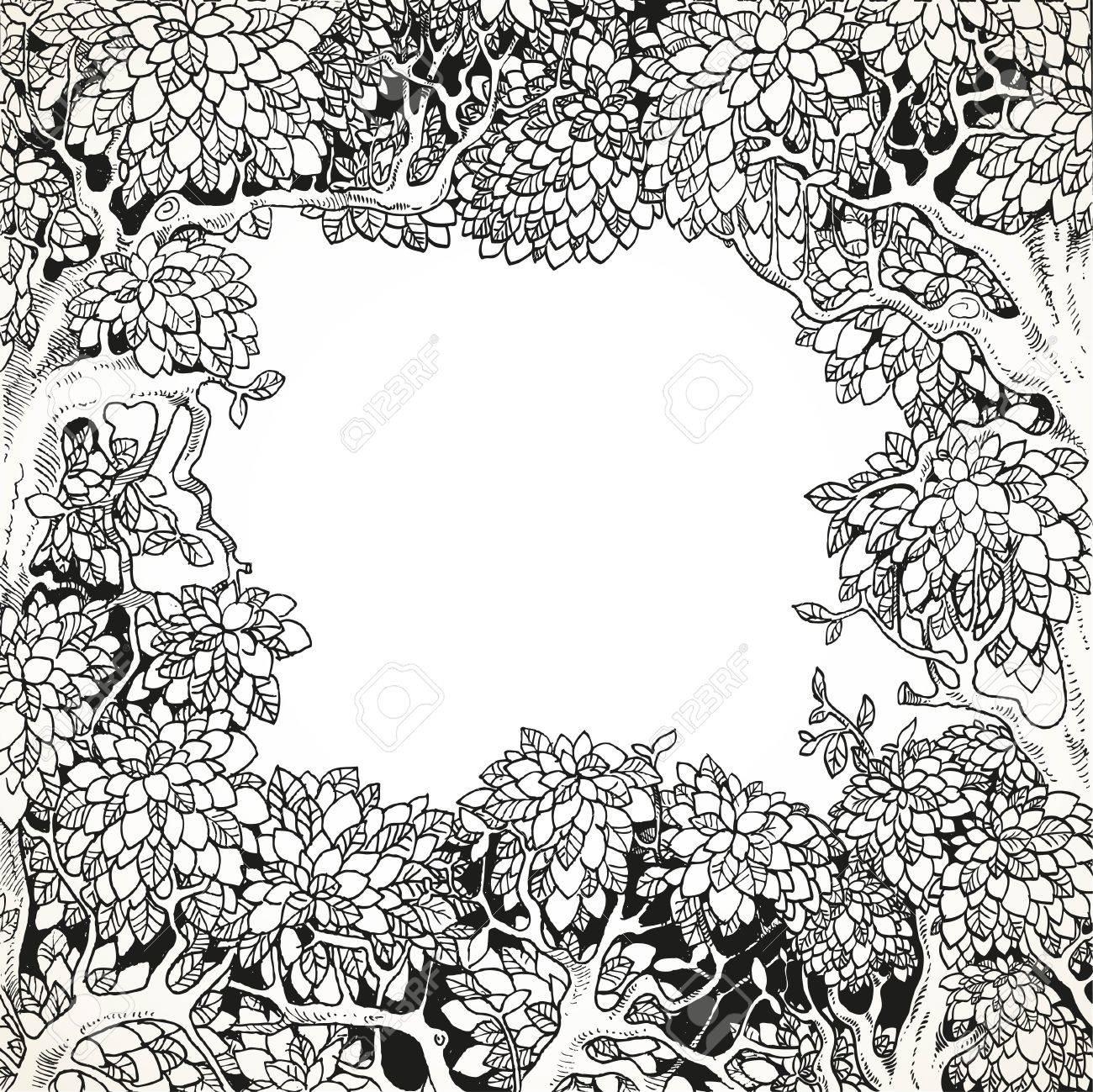 cadre pour le texte décoration enchanted forest noir et blanc clip