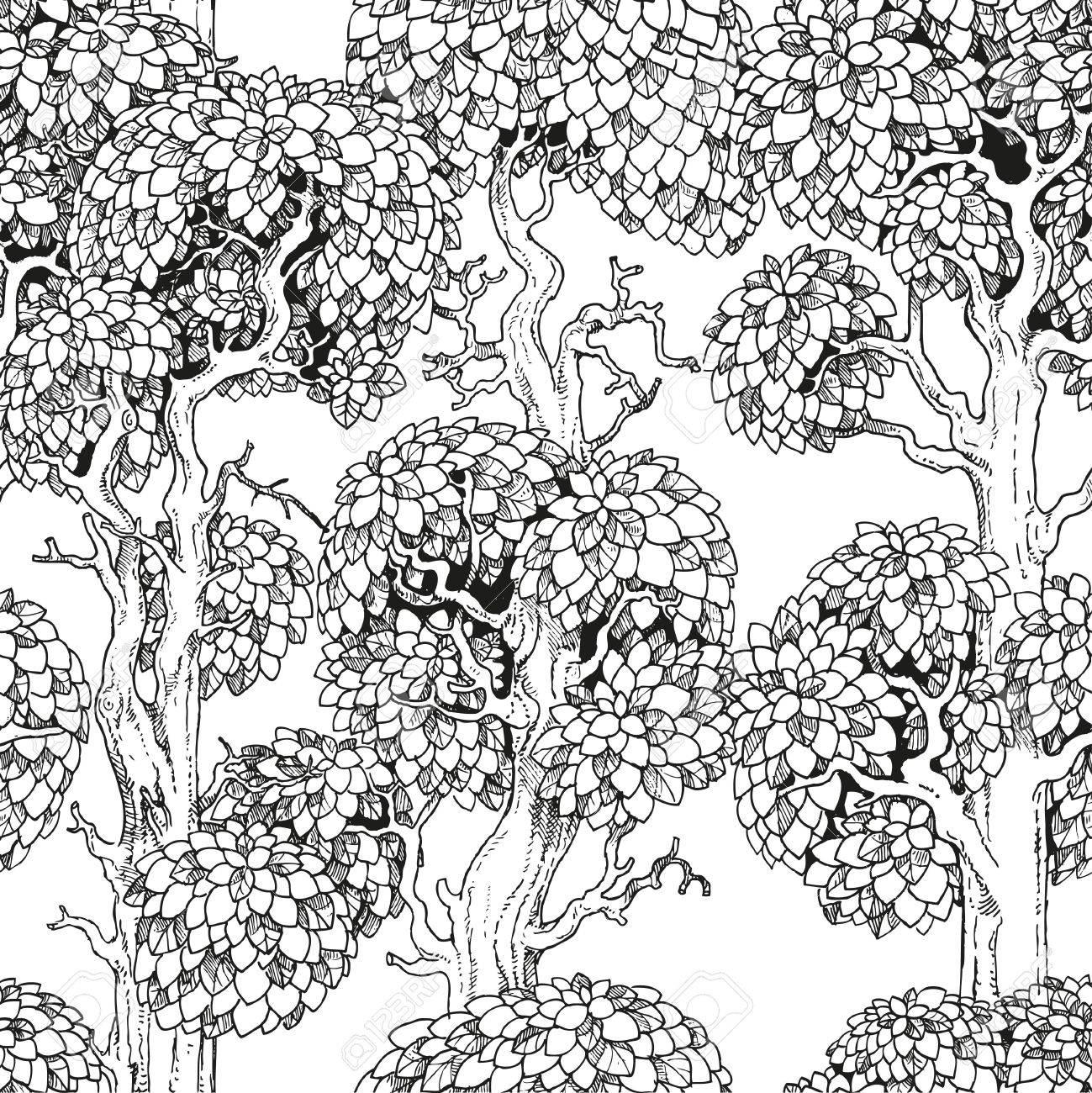 Nahtlose Muster Der Verzauberten Alten Bäumen Grafik Zeichnen