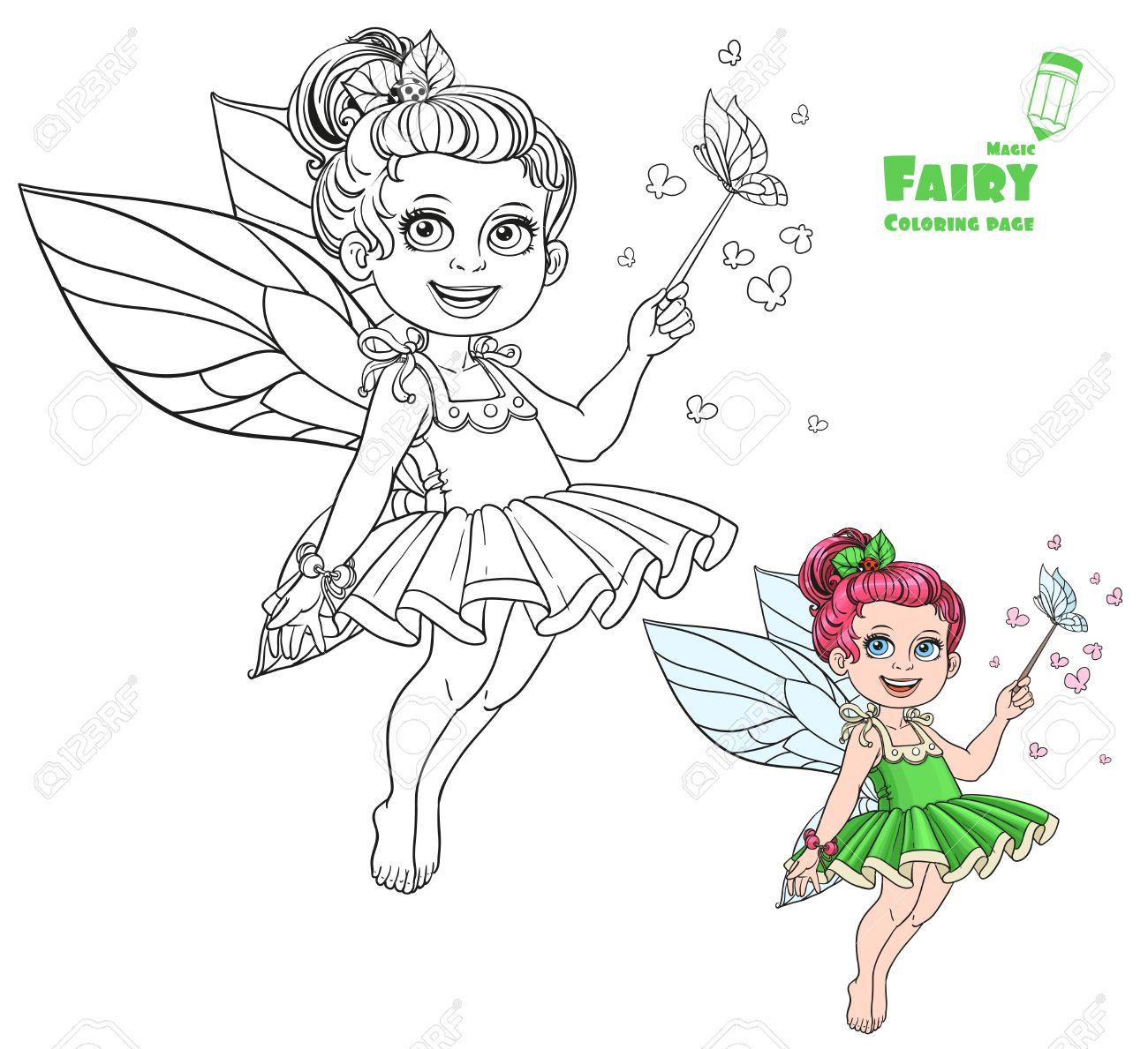 Schöne Kleine Sommer-Fee Mit Zauberstab Und Schmetterlinge Farbe Und ...