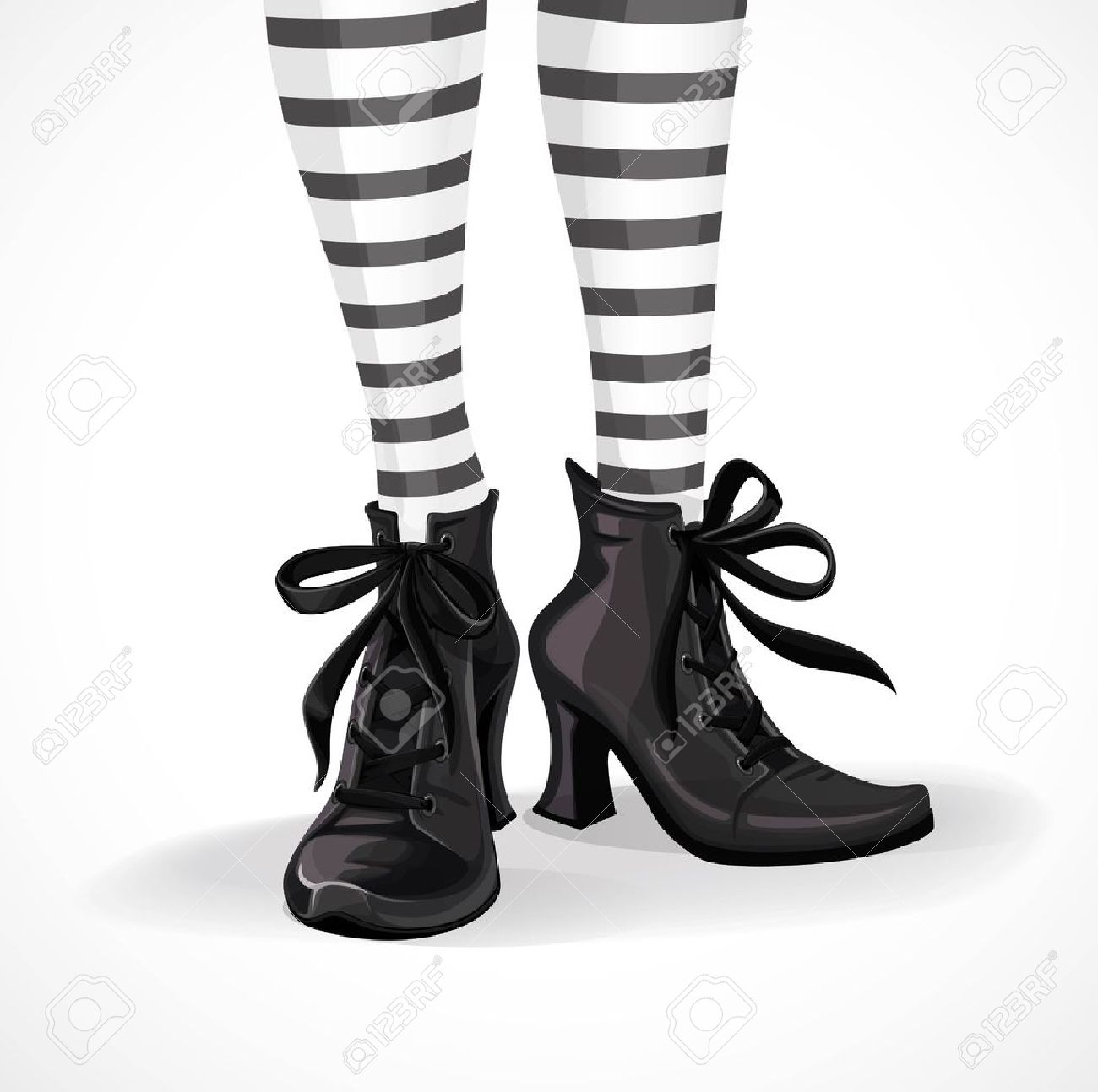 Halloween Closeup Witch Legs In Striped Stockings And Black Boots ...