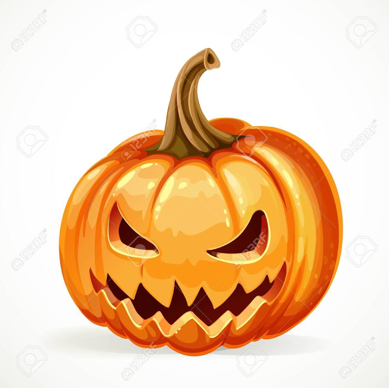 Halloween Kurbis Mit Geschnitzten Grinsen Isoliert Auf Weissem