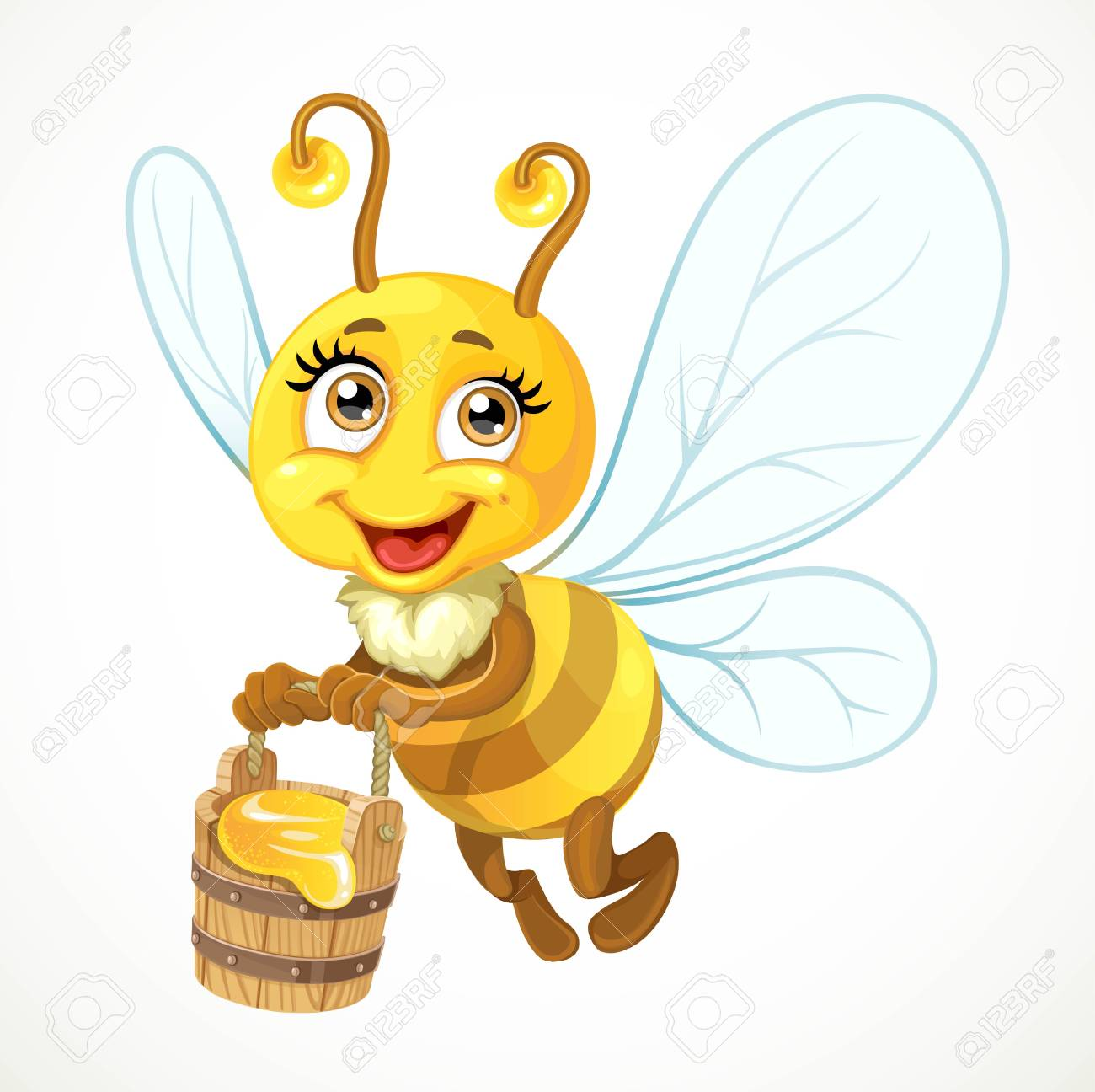 Cute Bee Flies With Wooden Bucket Full Of Honey Isolated On A ...