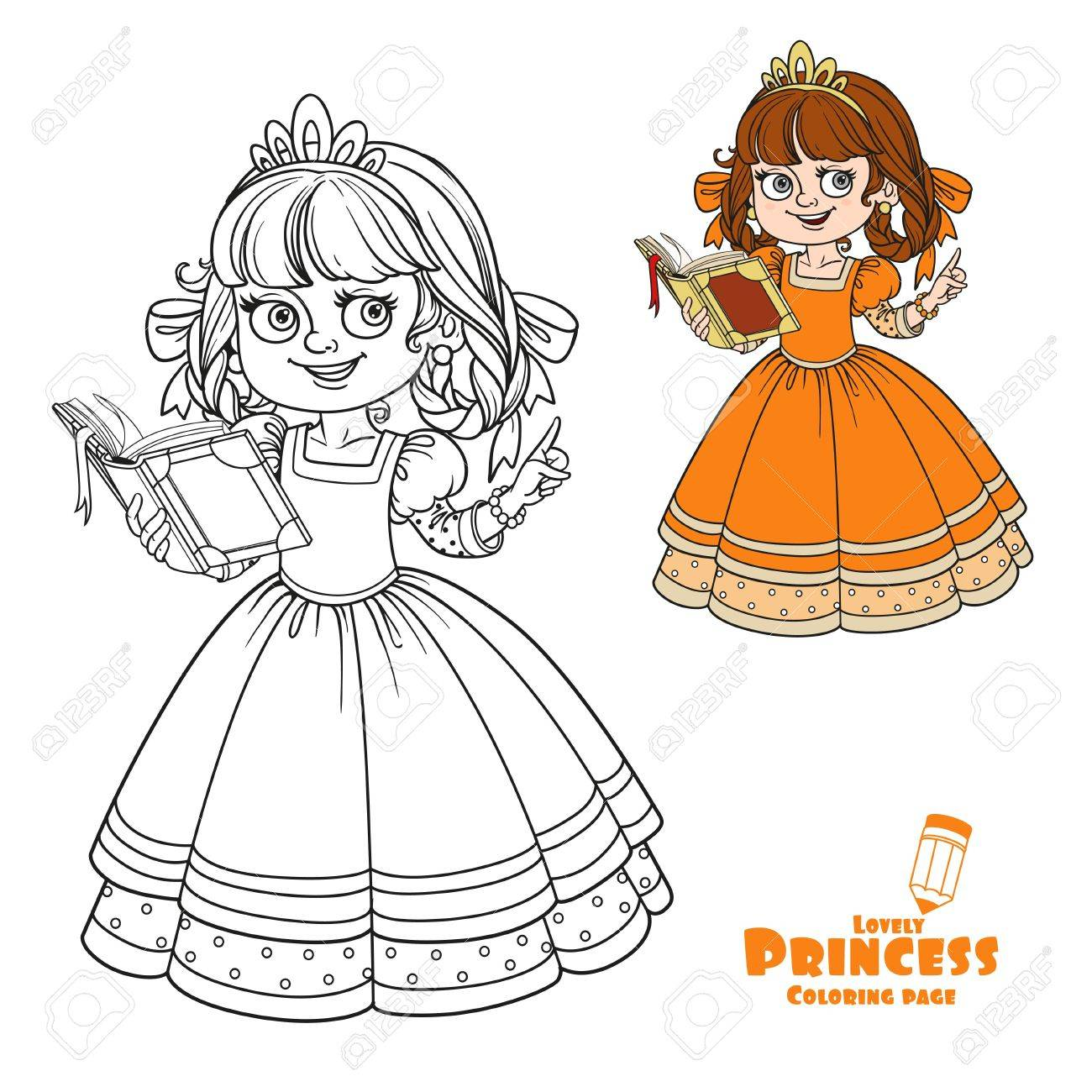 Coloring book quinn - Quinn Beautiful Princess Read Book Color And Outlined Picture For Coloring Book On White Background