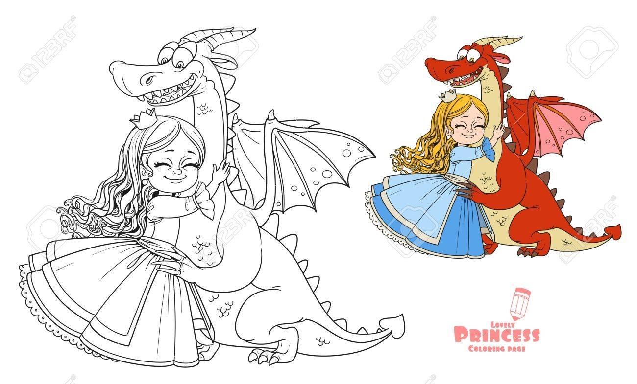 Coloriage De Princesse En Couleur.Petits Calins Princesse Couleur Dragon Et Image Decrit Pour Le Livre