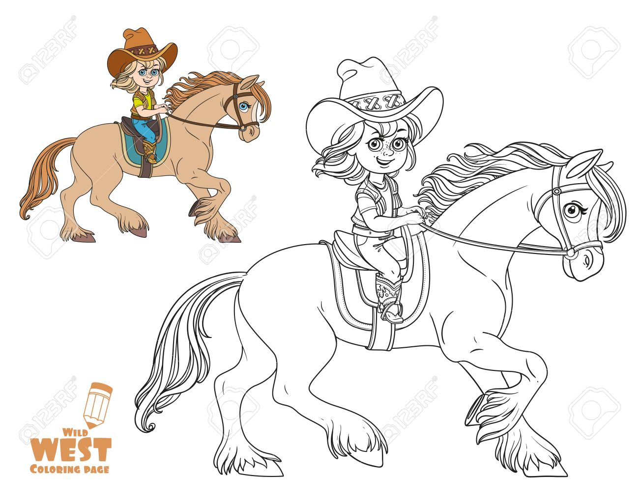 Cute Little Girl In A Cowboy Suit Riding A Horse Coloring Page