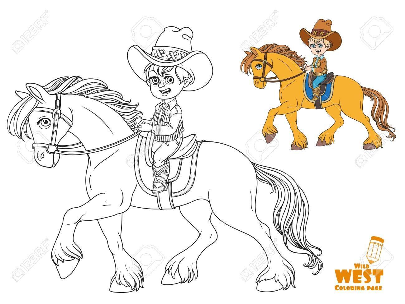 Niño Pequeño Lindo En Traje De Vaquero Montando En Un Caballo Para ...