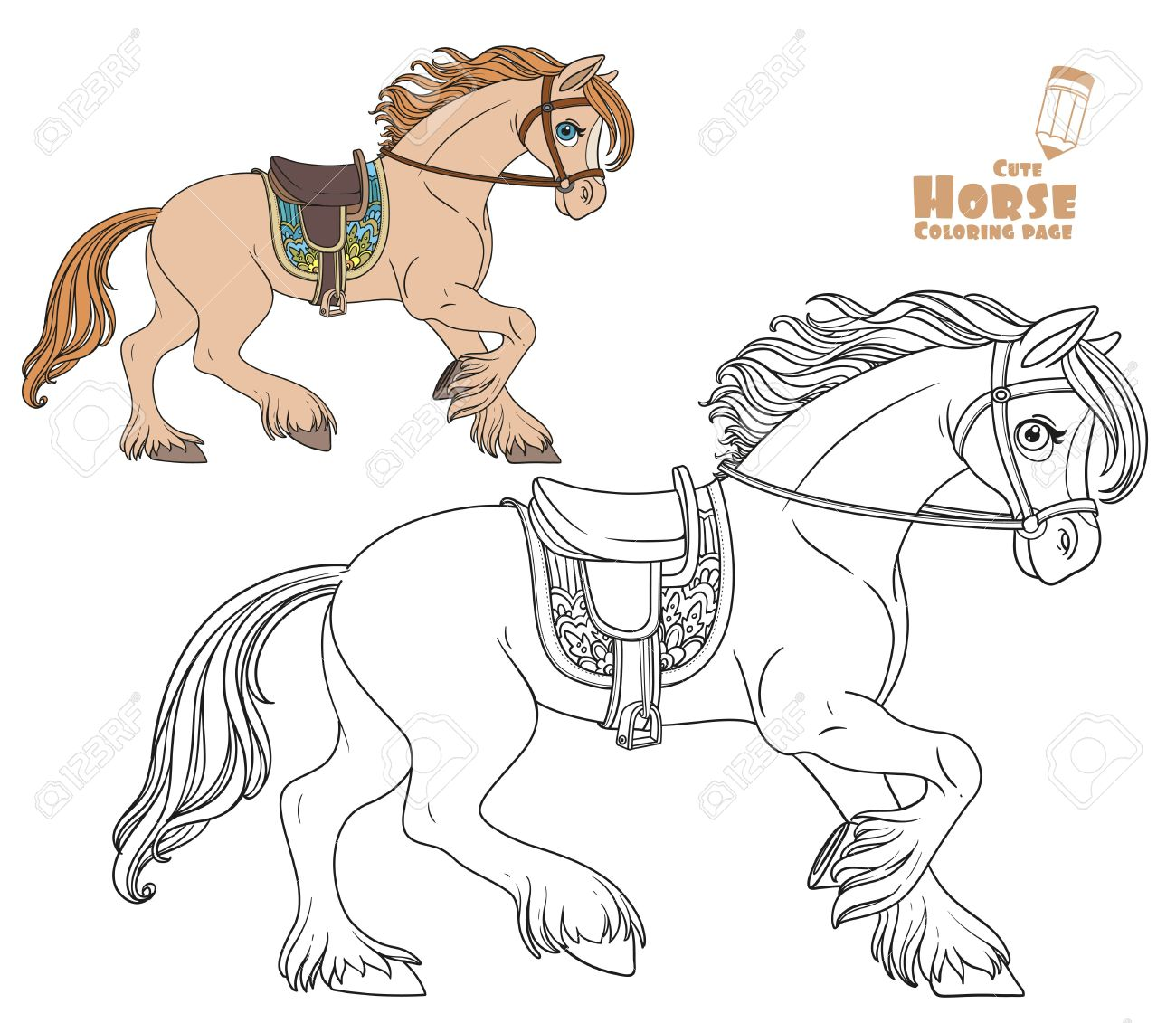cute cartoon horse harnessed in a harness runs forward coloring
