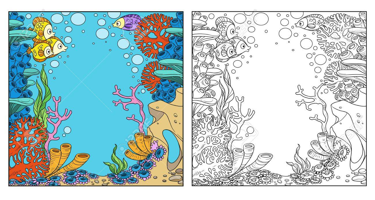 Underwater World With Corals And Anemones Coloring Page On White ...