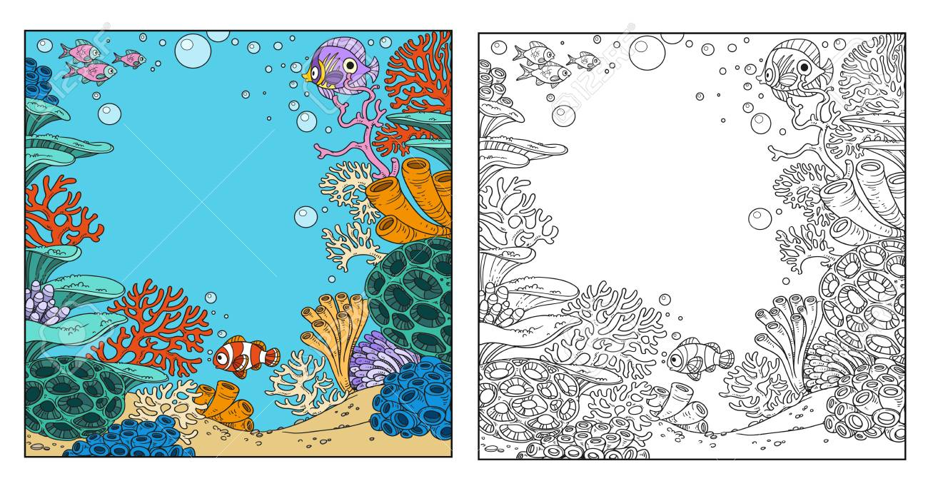 Underwater world with corals, anemones and fish coloring page on white background - 77998890