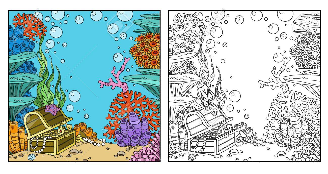 underwater world with corals and treasure chest coloring page