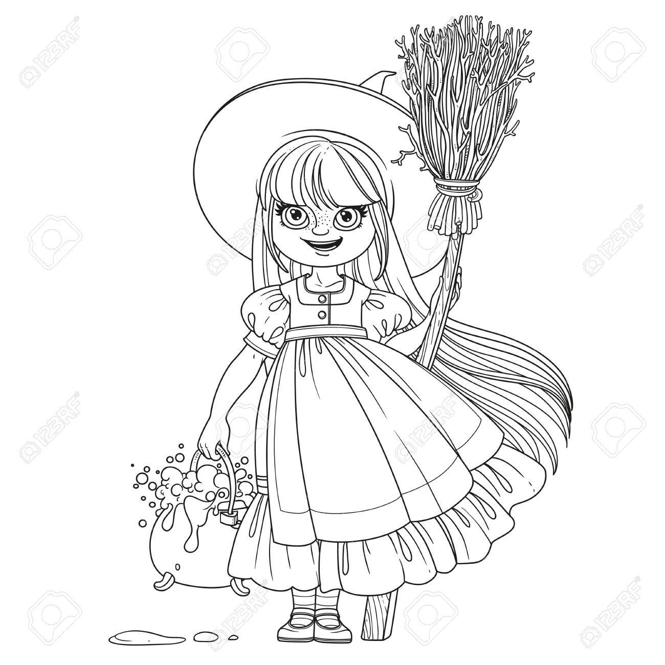 Süße Mädchen In Hexenkostüm Hält Einen Besen Zum Fliegen Und Topf