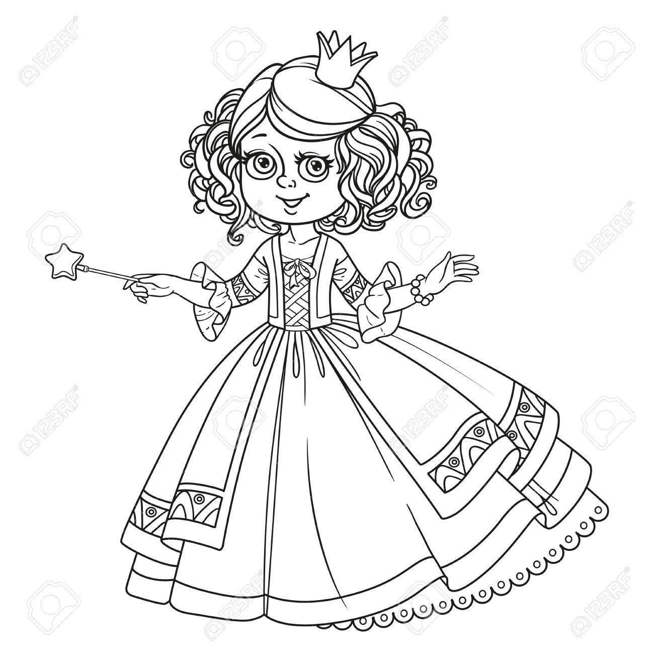 Belle Petite Princesse Avec Baguette Magique Décrite Pour Le Cahier De Coloriage Isolé Sur Fond Blanc