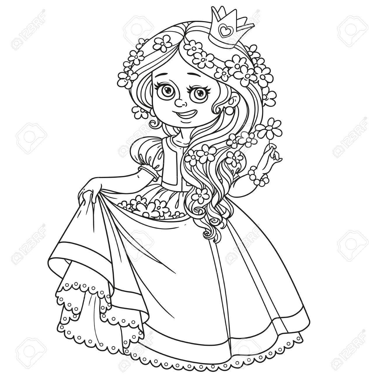 髪の毛や塗り絵は白い背景で隔離のドレスの裾に花の美しい王女の