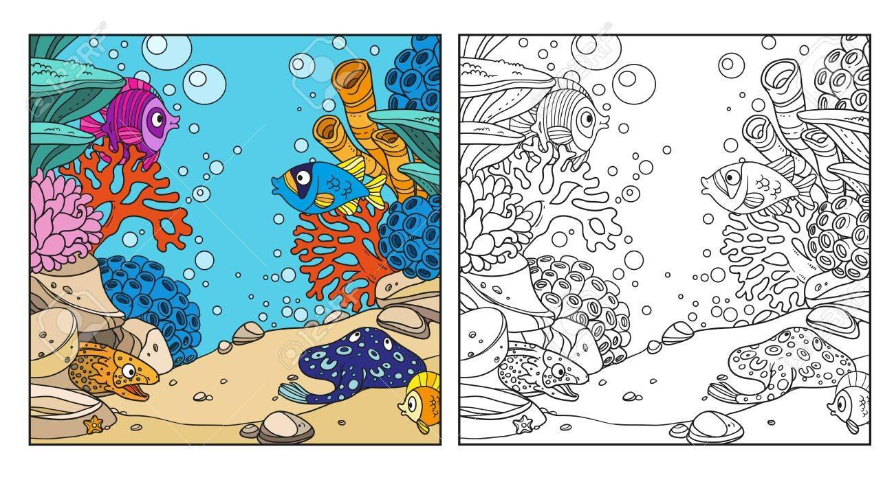 Mundo Submarino Con Corales, Anémonas, Morenas Y Rampa Para Colorear ...