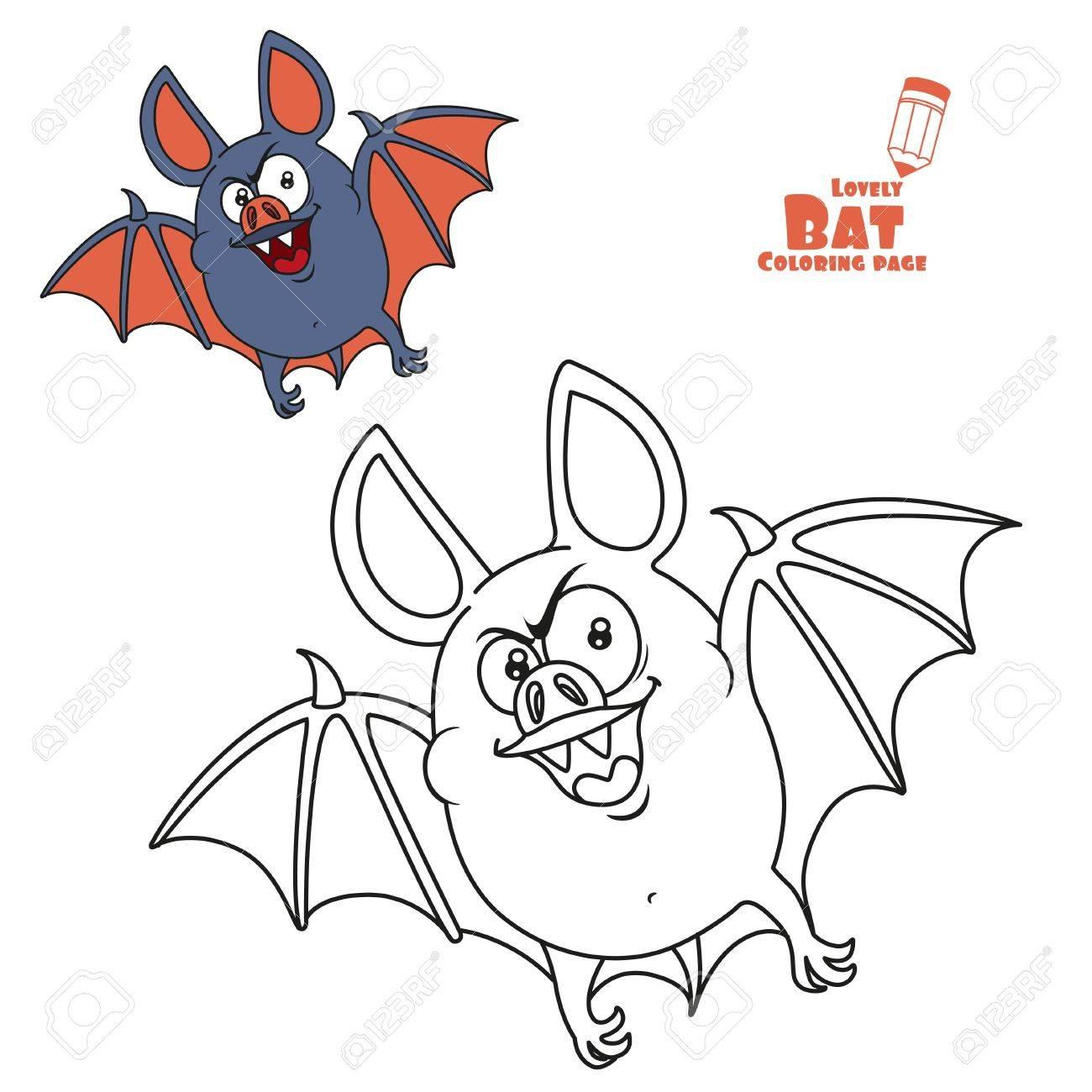 Halloween Ausmalbilder Fledermaus : Nette Fette Halloween Fledermaus Fliegen Farbe Und Umrissen F R